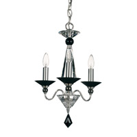 Schonbek Jasmine 3 Light Chandelier in Silver and Jet Black Optic Handcut Colors Trim 9673-40BK