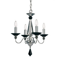 Schonbek Jasmine 4 Light Chandelier in Silver and Jet Black Optic Handcut Colors Trim 9674-40BK