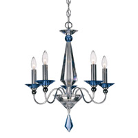 Schonbek Jasmine 5 Light Chandelier in Silver and Sapphire Optic Handcut Colors Trim 9675-40SP