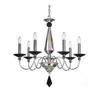 Schonbek Jasmine 7 Light Chandelier in Silver and Jet Black Optic Handcut Colors Trim 9677-40BK