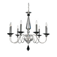Schonbek Jasmine 9 Light Chandelier in Silver and Jet Black Optic Handcut Colors Trim 9679-40BK