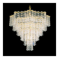 Schonbek Jubilee 9 Light Chandelier in Gold and Clear Gemcut Trim 2650-20