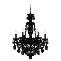 Schonbek Hamilton 6 Light Chandelier in Wet Black and Jet Black Heritage Handcut Trim 5735BK