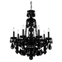 Schonbek Hamilton 7 Light Chandelier in Wet Black and Jet Black Heritage Handcut Trim 5736BK