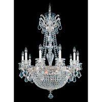 Schonbek La Scala Empire 15 Light Chandelier in Antique Silver and Clear Heritage Handcut Trim 5080-48