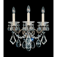Schonbek La Scala 3 Light Wall Sconce in Heirloom Bronze and Clear Heritage Handcut Trim 5002-76