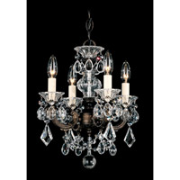 Schonbek La Scala 4 Light Chandelier in Heirloom Bronze and Clear Heritage Handcut Trim 5004-76