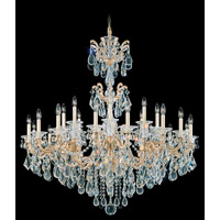 Schonbek La Scala 24 Light Chandelier in Parchment Gold and Clear Heritage Handcut Trim 5013-27