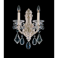 Schonbek La Scala 1 Light Wall Sconce in Antique Silver and Clear Heritage Handcut Trim 5070-48