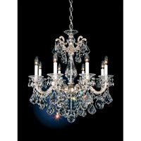 Schonbek La Scala 8 Light Chandelier in Antique Silver and Clear Heritage Handcut Trim 5073-48