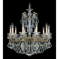 Schonbek La Scala 10 Light Chandelier in Parchment Bronze and Clear Heritage Handcut Trim 5074-74