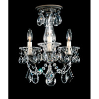 Schonbek La Scala 3 Light Convertible Semi Flush or Pendant in Bronze Umber and Clear Heritage Handcut Trim 5343-75