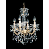 Schonbek La Scala 4 Light Convertible Semi Flush or Pendant in Heirloom Gold and Clear Heritage Handcut Trim 5344-22