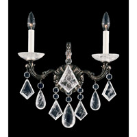 La Scala Rock Crystal 2 Light 6 inch Heirloom Bronze Wall Sconce Wall Light