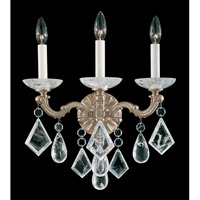 La Scala Rock Crystal 3 Light 9 inch Parchment Gold Wall Sconce Wall Light
