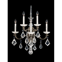 Schonbek La Scala Rock Crystal 5 Light Wall Sconce in Parchment Bronze and Clear Rock Crystal Trim 5403-74
