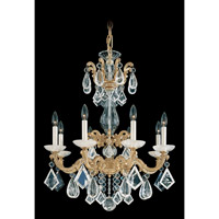 La Scala Rock Crystal 8 Light 25 inch Parchment Gold Chandelier Ceiling Light
