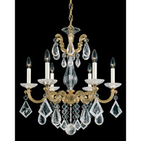La Scala Rock Crystal 6 Light 23 inch Heirloom Gold Chandelier Ceiling Light
