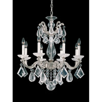 La Scala Rock Crystal 8 Light 25 inch Antique Silver Chandelier Ceiling Light
