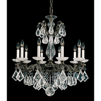La Scala Rock Crystal 10 Light 28 inch Parchment Bronze Chandelier Ceiling Light