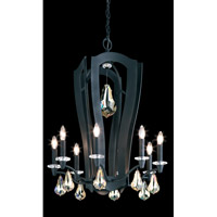 Schonbek Linterna 10 Light Chandelier in Ferro Black and Golden Shadow Swarovski Elements Trim PN1024N-59GS
