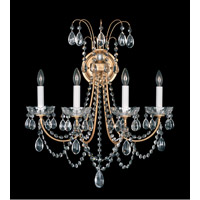 Schonbek Lucia 4 Light Wall Sconce in French Gold and Clear Heritage Handcut Trim LU0005N-26H