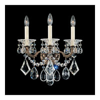 Schonbek La Scala 3 Light Wall Sconce in Heirloom Bronze and Crystal Swarovski Elements Trim 5002-76S