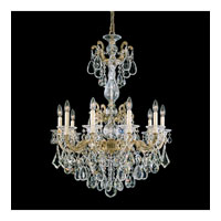 Schonbek La Scala 10 Light Chandelier in Parchment Bronze and Silver Shade Swarovski Elements Colors Trim 5008-74SH