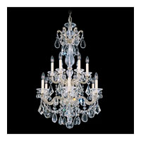 Schonbek La Scala 12 Light Chandelier in Antique Silver and Golden Shadow Swarovski Elements Colors Trim 5009-48GS