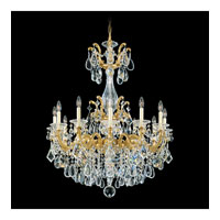Schonbek La Scala 12 Light Chandelier in Heirloom Gold and Golden Teak Swarovski Elements Colors Trim 5011-22TK