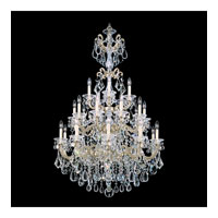 Schonbek La Scala 25 Light Chandelier in Heirloom Silver and Golden Teak Swarovski Elements Colors Trim 5012-44TK