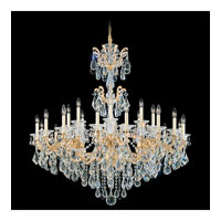 Schonbek La Scala 24 Light Chandelier in Parchment Gold and Silver Shade Swarovski Elements Colors Trim 5013-27SH