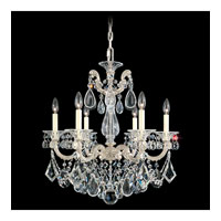 Schonbek La Scala 6 Light Chandelier in Antique Silver and Silver Shade Swarovski Elements Colors Trim 5072-48SH