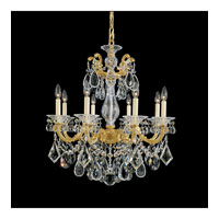 Schonbek La Scala 8 Light Chandelier in Heirloom Gold and Golden Shadow Swarovski Elements Colors Trim 5073-22GS