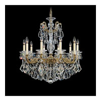 Schonbek La Scala 10 Light Chandelier in Parchment Bronze and Silver Shade Swarovski Elements Colors Trim 5074-74SH