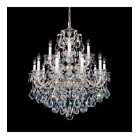 Schonbek La Scala 15 Light Chandelier in Antique Silver and Silver Shade Swarovski Elements Colors Trim 5075-48SH