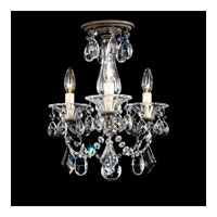 Schonbek La Scala 3 Light Convertible Semi Flush or Pendant in Bronze Umber and Crystal Swarovski Elements Trim 5343-75S