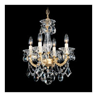 Schonbek La Scala 4 Light Convertible Semi Flush or Pendant in Heirloom Gold and Silver Shade Swarovski Elements Colors Trim 5344-22SH