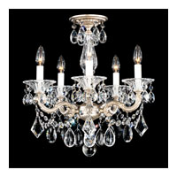 Schonbek La Scala 5 Light Convertible Semi Flush or Pendant in Antique Silver and Golden Teak Swarovski Elements Colors Trim 5345-48TK