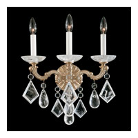 Schonbek La Scala Rock Crystal 3 Light Wall Sconce in Parchment Gold and Clear Rock Crystal Trim 5402-27