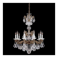 Schonbek La Scala Rock Crystal 10 Light Chandelier in Parchment Bronze and Clear Rock Crystal Trim 5408-74