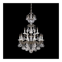 Schonbek La Scala Rock Crystal 15 Light Chandelier in Antique Pewter and Clear Rock Crystal Trim 5410-47
