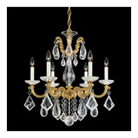 Schonbek La Scala Rock Crystal 6 Light Chandelier in Heirloom Gold and Clear Rock Crystal Trim 5472-22