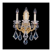 Schonbek La Scala 3 Light Wall Sconce in Heirloom Gold and Golden Teak Swarovski Elements Colors Trim 5071-22TK