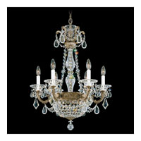 Schonbek La Scala Empire 8 Light Chandelier in Parchment Bronze and Silver Shade Swarovski Elements Colors Trim 5076-74SH