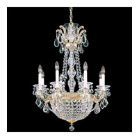 Schonbek La Scala Empire 10 Light Chandelier in Heirloom Silver and Golden Teak Swarovski Elements Colors Trim 5078-44TK