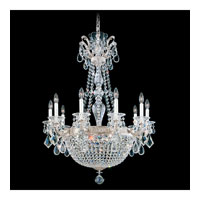 Schonbek La Scala Empire 15 Light Chandelier in Antique Silver and Silver Shade Swarovski Elements Colors Trim 5080-48SH