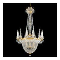 Schonbek La Scala Empire 22 Light Chandelier in Heirloom Gold and Silver Shade Swarovski Elements Colors Trim 5082-22SH