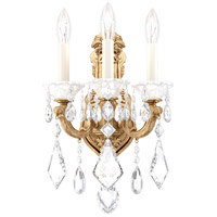 Schonbek 5071-26S Lascala 3 Light French Gold Wall Sconce Wall Light in Cast French Gold, La Scala Swarovski