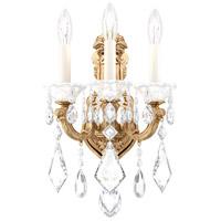 Schonbek 5071-26 Lascala 3 Light 8 inch French Gold Wall Sconce Wall Light in Cast French Gold La Scala Heritage
